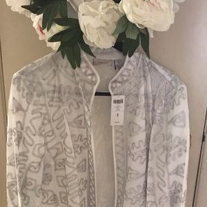 NWT Chico's silver/white jacket  XL